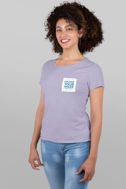 Pocket Tee Mockup Featuring a Woman Standing at a Studio 30059