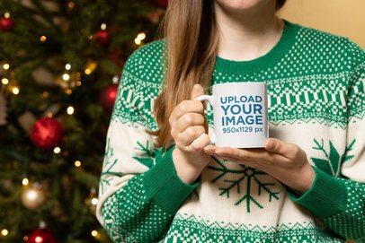 Christmas Mockup of a Woman Holding an 11 oz Coffee Mug 30182