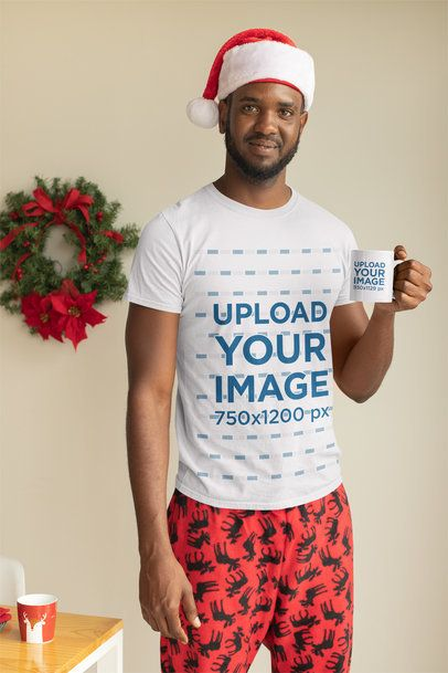 Mockup of a Man with a Christmas-Spirit T-Shirt Having a Coffee in an 11 oz Mug 30346