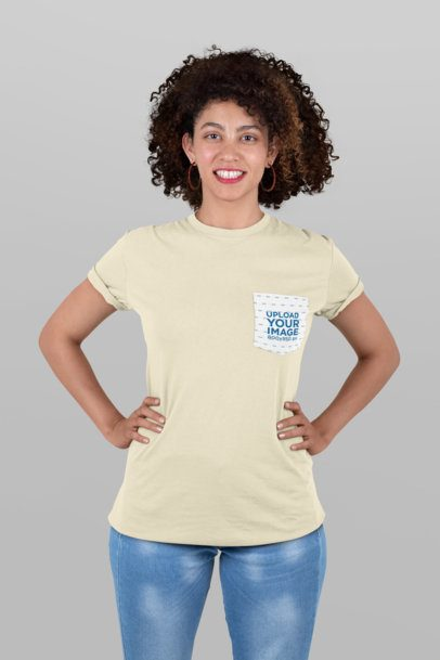 Pocket Tee Mockup of a Woman with Curly Hair at a Studio 30057