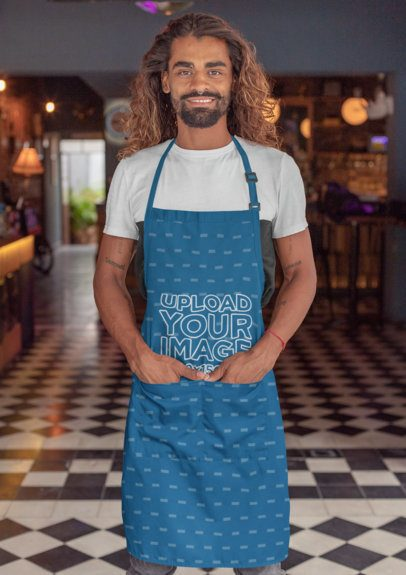 Apron Mockup Featuring a Tattooed Man with Long Hair 30302