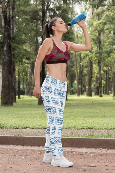 Sweatpants Mockup of a Woman Drinking Water from a Bottle 29870