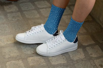Sublimated Socks Mockup Featuring a Woman Wearing Low Sneakers 29543
