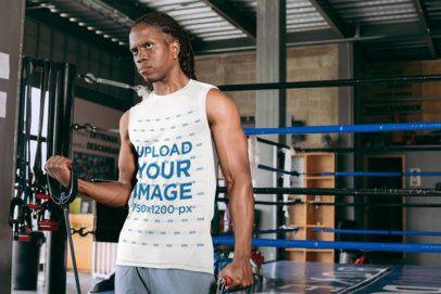 Tank Top Mockup of a Man Exercising at a Boxing Gym 30162