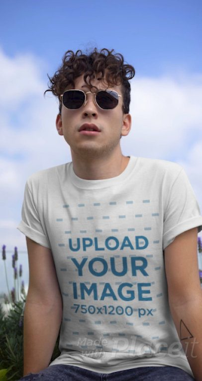 Stop Motion T-Shirt Video of a Young Man with Sunglasses 22458