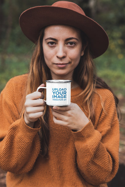 Mockup of a Woman in Nature Holding a 12 oz Enamel Mug 30465a