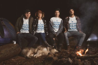 T-Shirt Mockup Featuring a Group of Friends Sitting by a Campfire at Night 30484