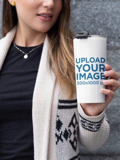 20 oz Travel Mug Mockup Featuring a Woman Posing 30423
