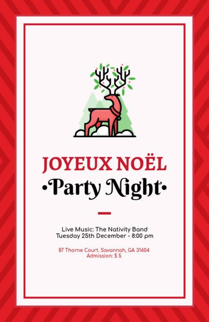 Online Flyer Maker for a Christmas Party Featuring a Reindeer Illustration 847f 169-el