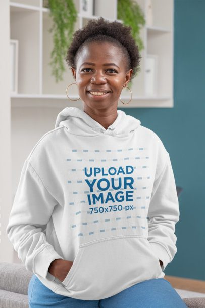 Pullover Hoodie Mockup of a Smiling Woman with Short Hair 30336