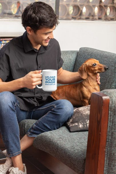 Mockup of a Man with His Dog Drinking from a 15 oz Mug 30677