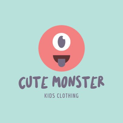 Logo Generator for Kids Clothing Brands Featuring a Cute Monster Face Graphic 1276f 116-el