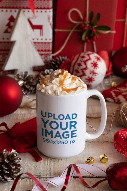 Mockup of a 15 oz Mug Placed in Christmas Table Setting 30650