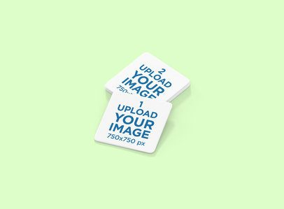 Square Coaster Mockup Featuring a Customizable Background 1217-el