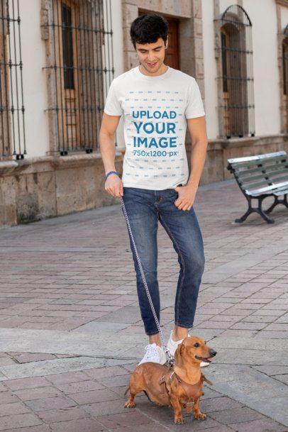 T-Shirt Mockup of a Man Walking His Dog 30683