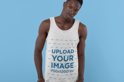 Mockup of an Edgy Man with a Heathered Tank Top at a Studio 30554