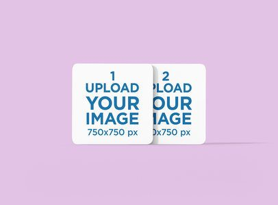 Mockup Featuring a Pair of Square Coasters Standing Against a Solid Color Backdrop 1223-el