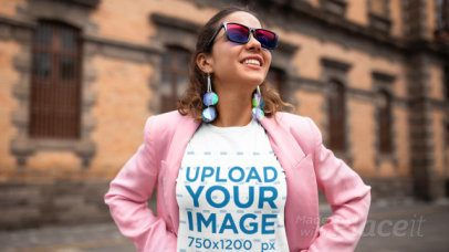 Stop Motion Video of a Woman with a T-Shirt Posing in the Street 22716