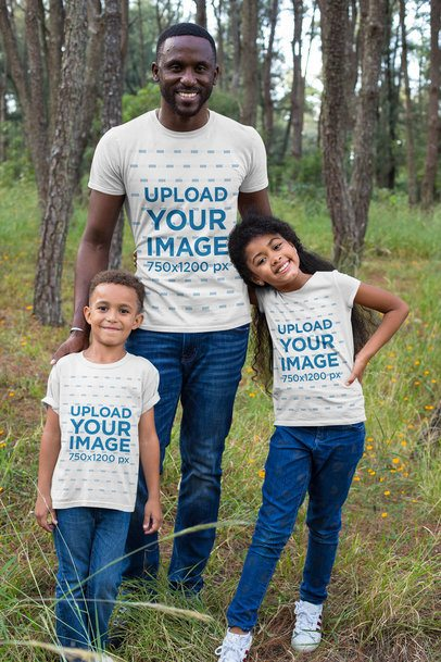Mockup of a Man with His Kids Wearing T-Shirts 30600