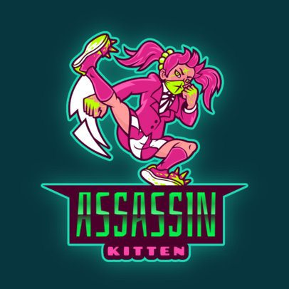 Gaming Logo Maker Featuring a Female Warrior with an Anime Style 2718d