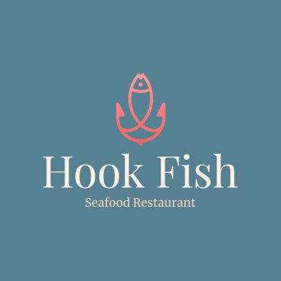 Seafood Restaurant Logo Creator with a Hook Graphic 1801i 249-el