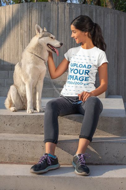T-Shirt Mockup of a Woman Sitting with Her Dog 30657