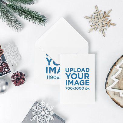 Xmas Card Mockup Featuring an Envelope and Holiday Decorations 1255-el