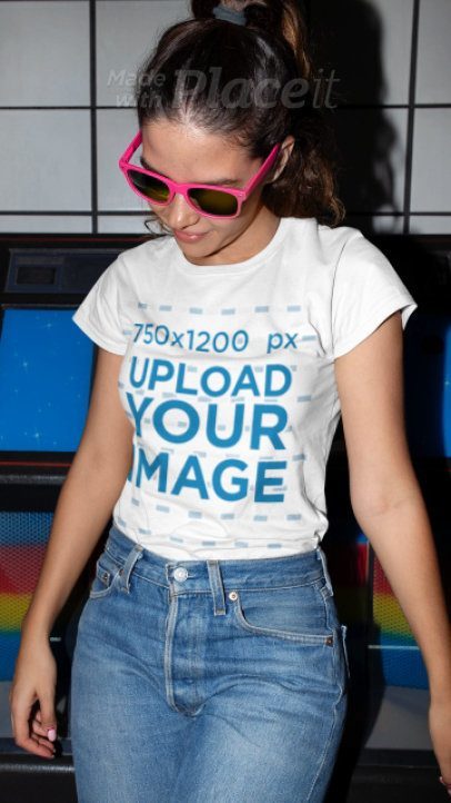 Stop Motion T-Shirt Video of a Woman Wearing Sunglasses 22721