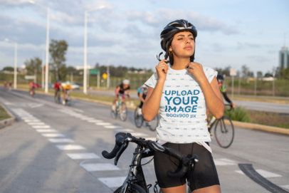Sublimated T-Shirt Mockup Featuring a Female Cyclist 30802