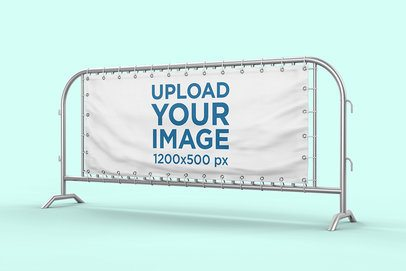 Barrier Banner Mockup Featuring a Customizable Background 896-el