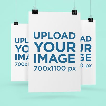 Mockup of Three Posters Hanging Against a Flat Surface 1244-el