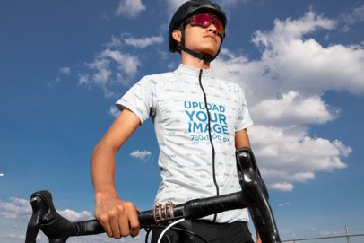 Mockup of a Man Wearing a Short-Sleeve Cycling Jersey and Professional Gear 30793
