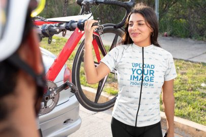 Short-Sleeve Cycling Jersey Mockup Featuring a Woman Smiling 30796