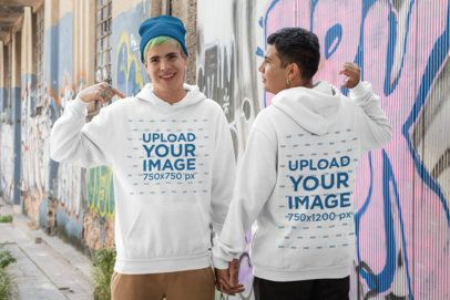 Pullover Hoodie Mockup Featuring an LGBT Couple by Graffitied Walls 30446