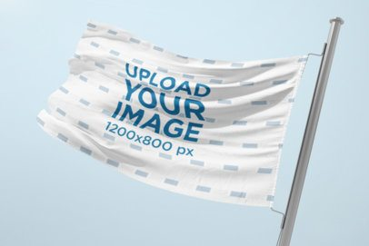 Mockup of a Waving Flag Attached to a Steel Pole 1349-el