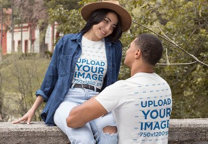 Front and Back View Mockup of a Couple Wearing a T-Shirt and Hanging Out 30532