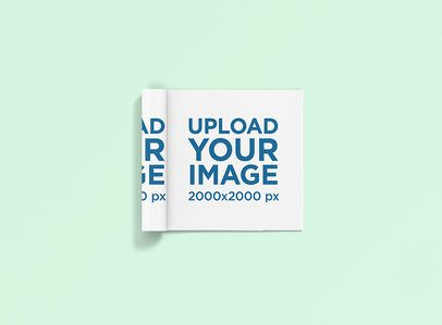 Mockup of a Square Magazine Placed on a Customizable Background 1177-el