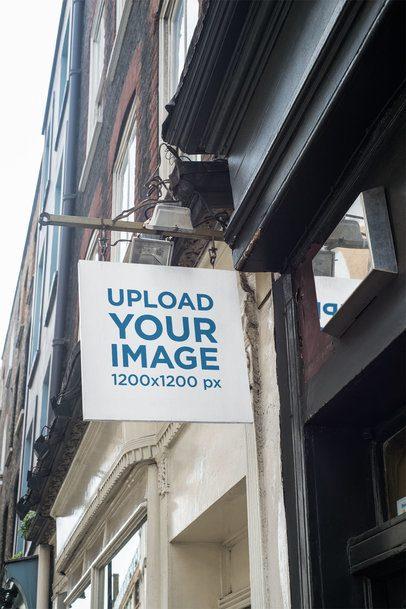 Squared Store Sign Mockup Placed on a Vintage Building 1405-el