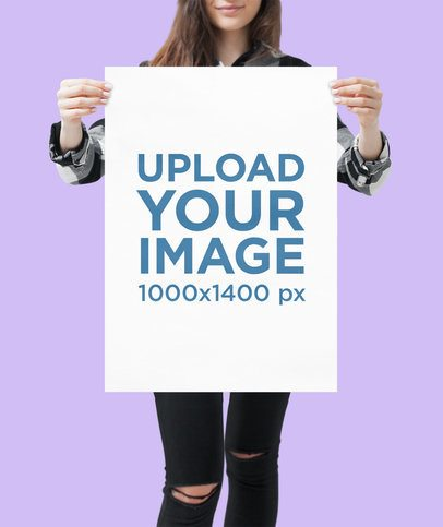Mockup of a Woman Holding a Poster Against a Solid Background 1321-el