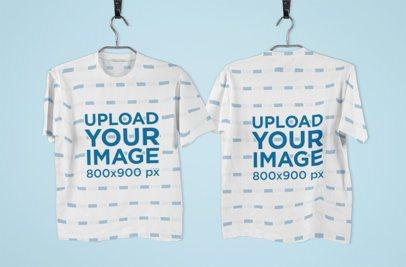 Both Sides Mockup of a Hanging Sublimated T-Shirt 1382-el