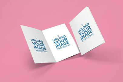 Two Greeting Cards Mockup Featuring a Customizable Background 1610-el