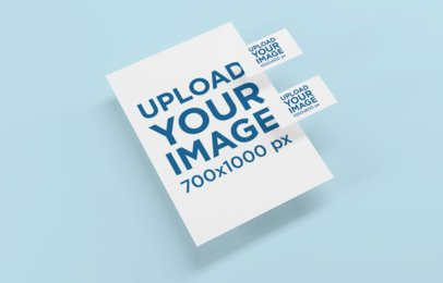 Mockup Featuring Two Business Cards Floating over a Letterhead 1534-el