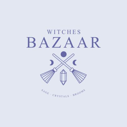 Magic Bazaar Logo Maker with Witchy Brooms and Crystal Icons 2724k