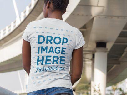 Back of a Pregnant Girl Wearing a Tshirt Mockup Near a White Bridge a9647b