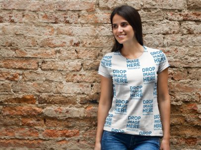 Sublimated Tee Mockup of a Young Woman Leaning Against a Brick Wall a8307