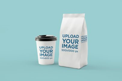 Mockup of a Coffe Cup Placed Next to a Coffee Bag Packaging 1499-el1