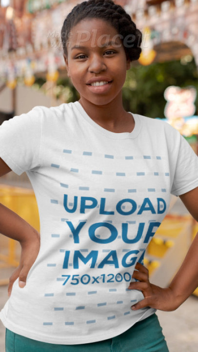 T-Shirt Video of a Smiling Woman Featuring a Stop-Motion Effect 22989