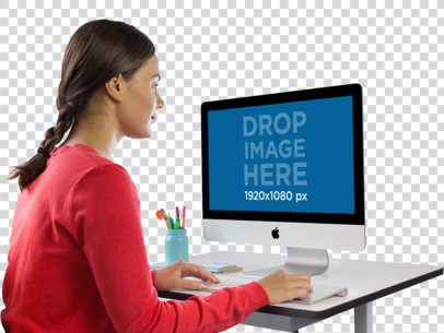 Woman Using iMac at Her Desk Mockup a11424