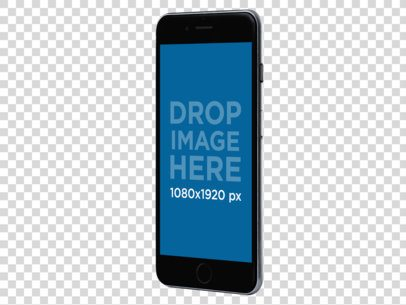Black iPhone 6 Plus Angled in Vertical Position Over a Transparent Background a11487