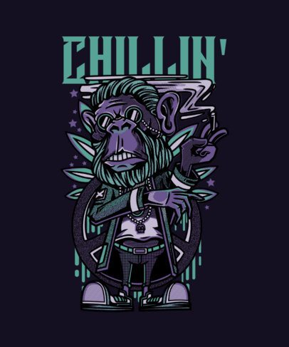 T-Shirt Design Maker of a Chilled Monkey Smoking 43d-el